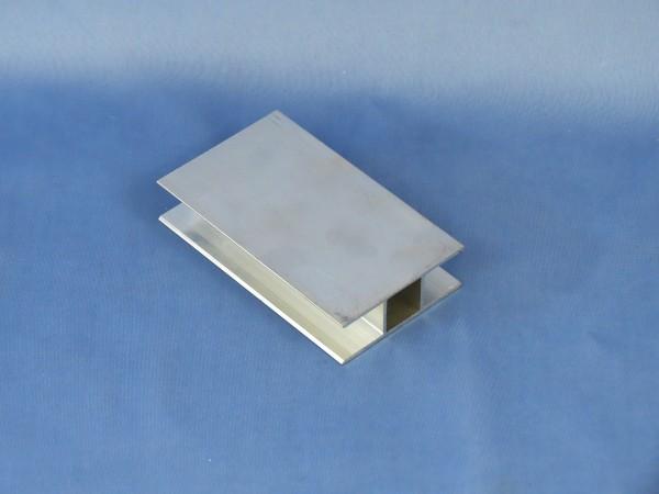 Alu-Vierkantrohr mit zwei Stegen, 180°