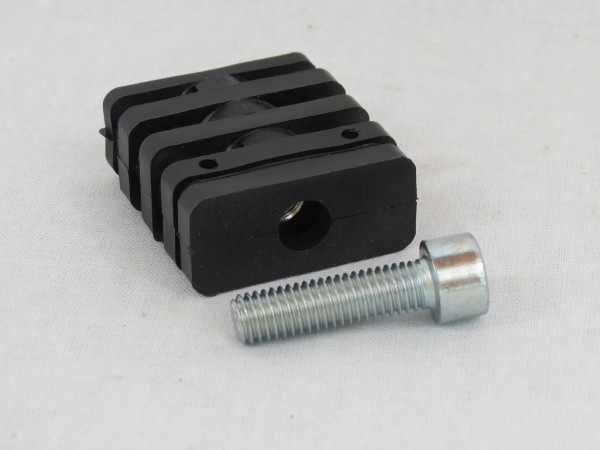T-Verbinder mit Stahlgewinde M8, schwarz, 40 x 20 x 1,5 mm