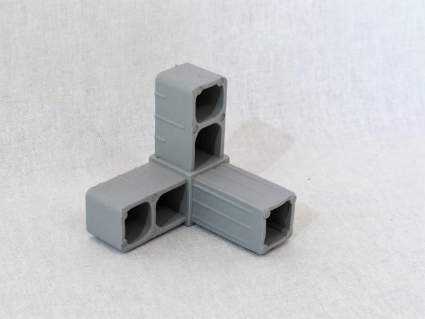 Winkel mit Abgang, grau, 20 x 20 x 1,5 mm