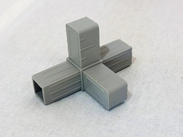 T-Stück mit Abgang, grau, 20 x 20 x 1,5 mm