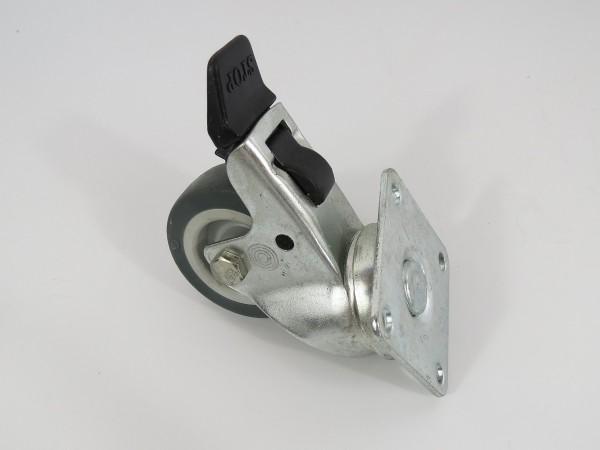Transportrolle mit Platte zum Anschrauben inkl. Bremse 50 mm